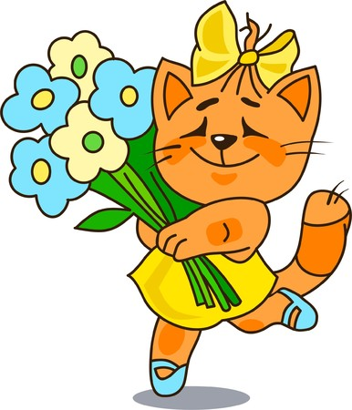 merry mood: Cheerful red cat with a bunch of flowers Illustration