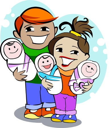 Young happy parents hold the new-born children on hands Vector