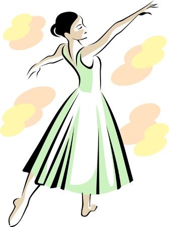 Ballerina in green dress Ilustração