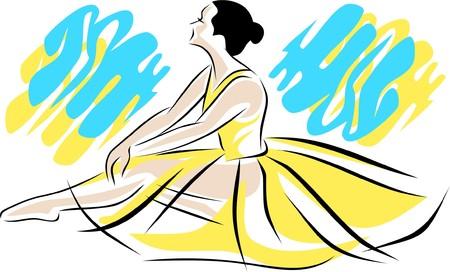 A ballet-dancer is sitting