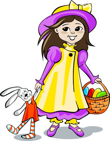 Cute girl with basket of Easter eggs