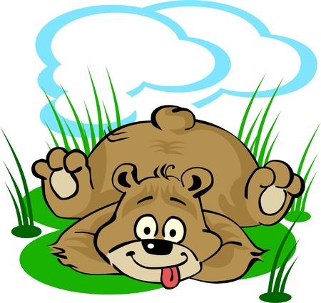 folktale: Funny little bear laying on the lawn Illustration