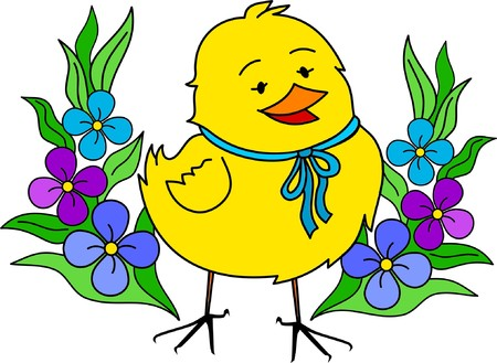 Little yellow Easter chick with flowers Stock Vector - 4486972