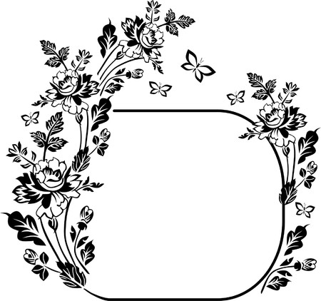 Floral silhouette with butterflies Vector