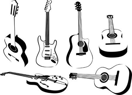 meerdere afbeeldingen van gitaren Vector Illustratie