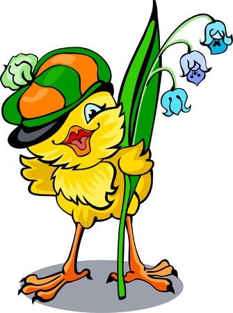 Cute merry chicken in peaked cap Vector