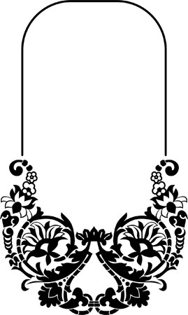 Floral oval silhouette frame Vector