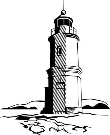 black-and-white image of lighthouse Vettoriali