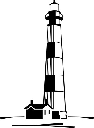 black-and-white image of llighthouse