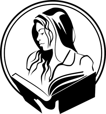 vie �tudiante: belle fille est en train de lire un livre Illustration