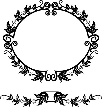 Oval silhouette frame Vector