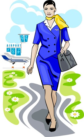 flight attendant: Stewardess, walking down on the airfield Illustration