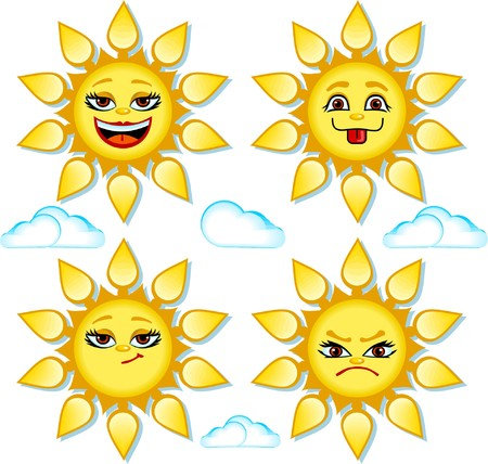 Funny smiles in shape of sun Vector