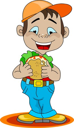 A boy eating a sandwich Illustration