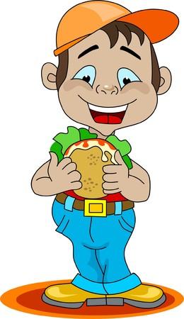 A boy eating a sandwich Illustration