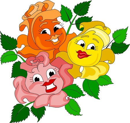 merry mood: Funny smiling roses Illustration