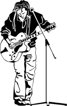 muzikant is het opknappen van zijn gitaar Vector Illustratie