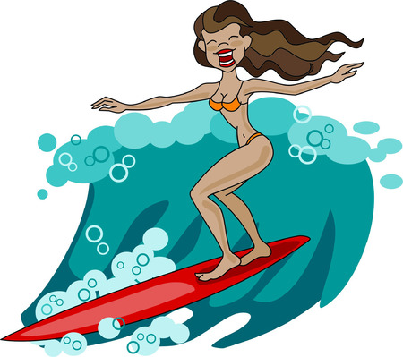 hot chick: Girl surfing the wave