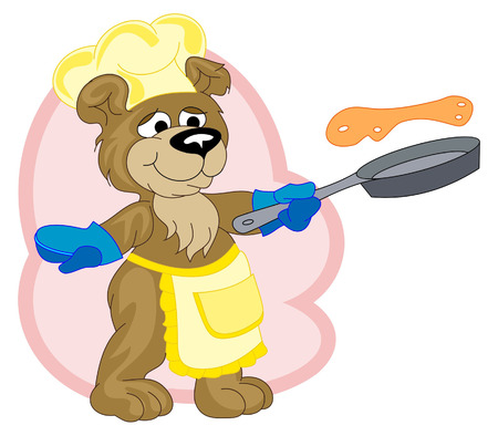 frying pan: A funny cook-bear is frying pancakes Illustration