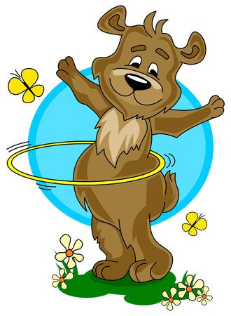 hula: little cartoon bear improve hula hooping technique