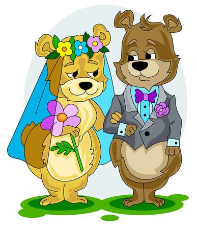 Bears wedding Vector