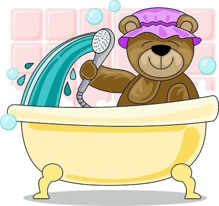 bathing: teddy bear is taking a shower Illustration