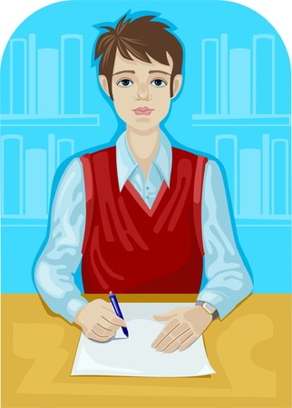 filling folder: Young man is going to write something on a blank piece of paper