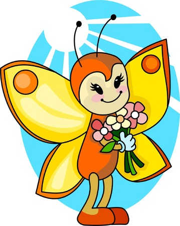 good mood: Cute cartoon butterfly with bouquet of flowers