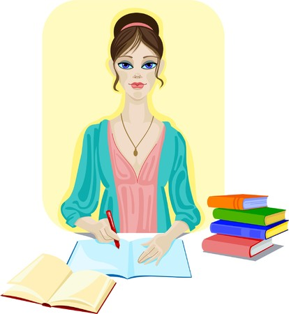 Giovane ragazza rosso con penna e blocco note in bianco sta facendo il suo dovere