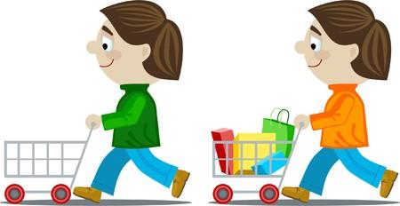 Boy with shopping trolley Illustration