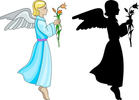 Angel with flower Vector