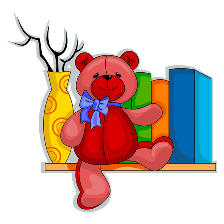 agreeable: Red Teddy Bear sitting on the shelf between books and yellow vase
