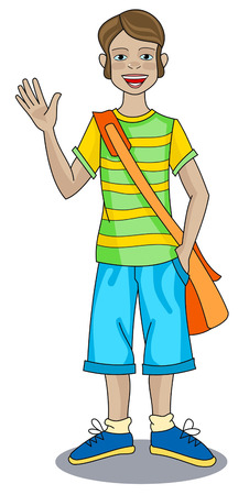 Modern-day boy in striped T-shirt, blue shorts and orange bag is waving hand Banco de Imagens - 5131441