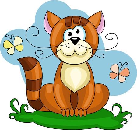 귀여운 빨간 고양이 잔디밭에 앉아