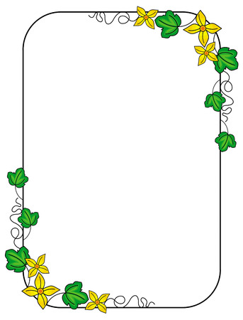 Cute frame with green leaves and yellow flowers