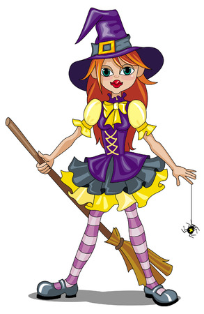 broomstick:  Young witch with broom and spider Illustration