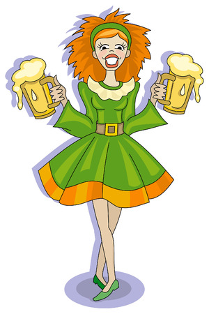 Red-haired girl with glasses of beer Stock Vector - 6482139