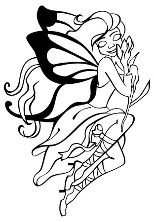 outlined  vector image of fairy with butterfly wings