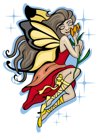Little long-haired fairy holding an orange  flower, in red dress and butterfly wings Vector