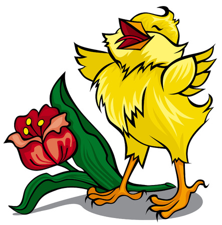 Happy chicken with red flower Vector