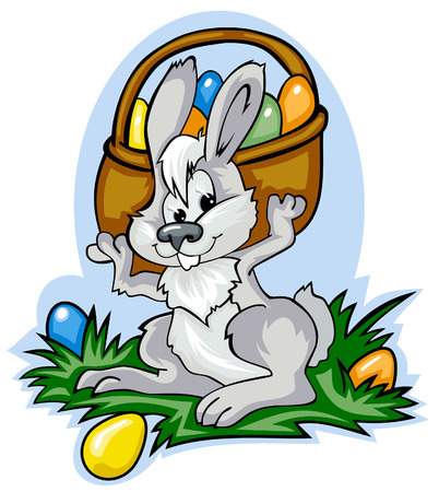 image of a cute easter bunny holding a basket full of easter eggs Vector