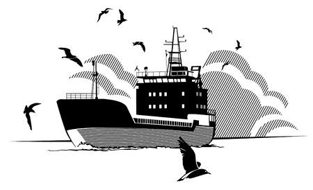 はしけ: 海のカモメに囲まれた航行のはしけのシルエット