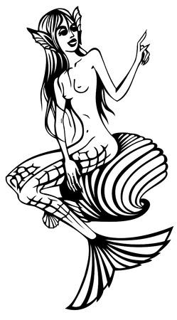 tattoo girl: Contorno de imagen de sirena