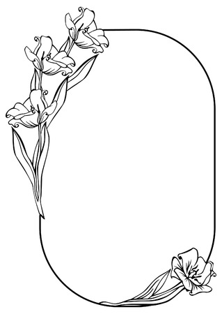 Oval silhouette frame with flowers Illustration