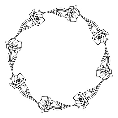 Oval silhouette frame with flowers Vector