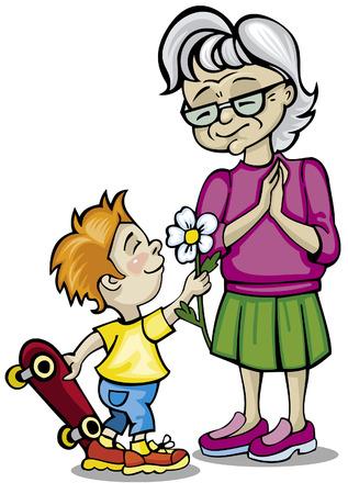 할머니와 손자 일러스트