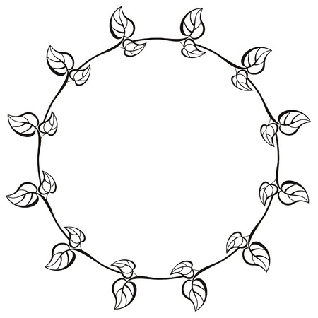 Round frame with  leaves Vector