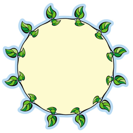 Round frame with green leaves Vector