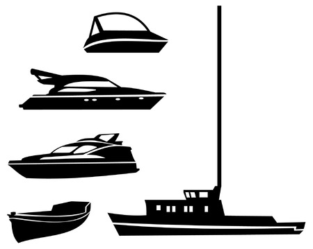 motorboat: silhouette water transport