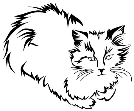 Outline image of sitting cat